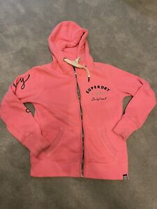 Lovely Superdry Ladies Zip up Jumper Hoodie In Bright pink Size Large