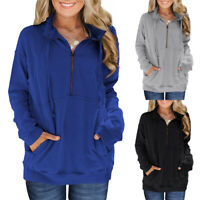 Women's Half Zip Sweatshirt Hoodie Long Sleeve Pocket Casual Loose Pullover Tops