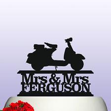 Personalised Scooter Motorbike Mr & Mrs Wedding/Anniversary Cake Topper