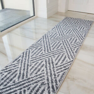 Grey Long Runner Rugs For Hallway Entrance Hall Easy Clean Low Pile CLEARANCE