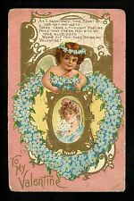 Valentines Day Vintage postcard Cupid Angel series #1 gold trim embossed