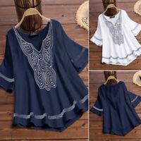 Women Short Sleeve V Neck Casual Long Shirt Tops Loose Asymmetrical Blouse Plus