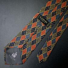 Lanvin Paris Diamond Check Silk Tie Made in France