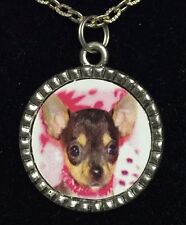 """Dog Chihuahua Puppy in Pink Charm Tibetan Silver with 18"""" Necklace A50 BIN"""