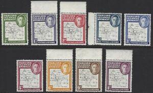 FALKLAND ISLAND DEPENDENCIES 1948 KG6 Thin Map Set of 9 to 1/- MNH