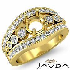 Semi Mount 0.75Ct Diamond Engagement Round Ring 18k Yellow Gold Halo Pave Set