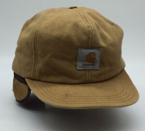Vintage Carhartt Hat Insulated Safety Ear Flaps Size M Tan Beige Old School Cap