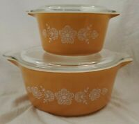 Vintage Pyrex Gold Butterfly Casserole Dishes w Lids Set/2 473 & 475 FREE SHIP