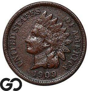 1909-S Indian Head Cent Penny, Details Porous, Key Date