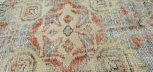 Antique 1949's Distressed Wool Pile Muted Vegitable  Dye Oushak Area Rug 7x10ft,