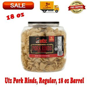 Utz Pork Rinds, Regular, 18 Ounce Barrel, Low Carb, Snack, Fried Pork Skins