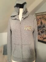 Victoria Secret Pink Gray Zip Up Hoodie Sweater Womens Small Sequin Bling
