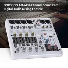 Digital Audio Mixer Console 8-Channel White for Recording DJ Live Broadcast J4W2