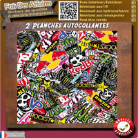 2 planches STICKER BOMBERS autocollant kit DECO MOTO CROSS SPORTIVE sponsor auto