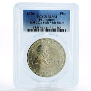 Philippines 1 piso Pope Paul VI Visit MS64 PCGS silver coin 1970