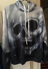 Skull Hoodie Thin Jumper NWOT - Size Small - Black & White