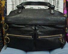 CHLOE' designer large black leather handbag/shoulder bag/satchel, Authentic!!