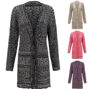 Women Ladies Knitted 2 Tone Cable 2 Button Boyfriend Crochet Cardigan Top Plus