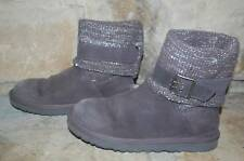 UGG Cambridge Boots Women's 7 Gray Suede Buckle Strap Sweater Knit Silver Sequin
