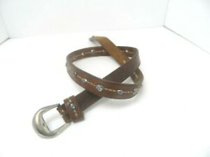 """Leather Shop Brown 100% Leather Concho Women's Belt Size L /1"""" W Silver Buckle"""