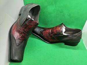 Zota Unique Mens Shoes, Sz 9, Two-Tone Burgundy/Black Square Toe Style#: G8933