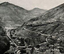 D1124 France - Tenda - Veduta dal Castello - Stampa antica - 1927 old print