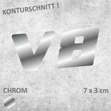 V8 Schriftzug CHROM Autoaufkleber JDM Sticker Aufkleber 7 x 3 cm