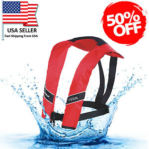50% Off Adult Inflatable Life Jacket Automatic Manual Vest Lifesaving PFD Red