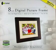 """GiiNii 8"""" Digital Picture Brown Wood Frame Store Up To 3200 Pictures"""