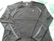 Men's size Xl Champion Long Sleeve Black & Gray Double Dry Athletic Jersey