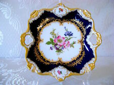 "8"" Vg German Bavaria AK KAISER Cobalt Blue Gold Porcelan HP Platter Tray RARE #3"