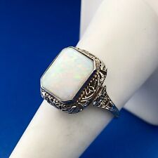 Art Deco Art Nouveau 14K White Gold Opal October Anniversary Occasion Ring