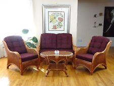 Living Set Jam of 2 Chairs Loveseat Dark Brown Cushions and Coffee Table,Cognac