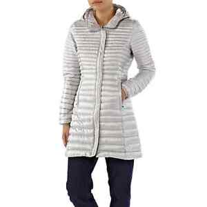 PATAGONIA Fiona Lightweight Down Hooded Quilted Parka in Pebble Gray Sz S $250
