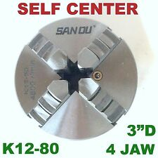 "1 pc Lathe Chuck 3"" 4 Jaw Self Centering w/2 sets Jaw K12-80 sct-888"