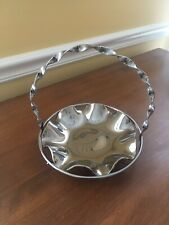 Vintage 1950's Silver Toned Candy Dish With Removable Fluted Plate
