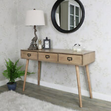 wooden three drawer urban retro console side table kitchen hall way desk office