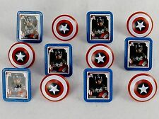 Marvel Captain America Shield Rings, 12 Pack Cupcake Toppers, Two Designs
