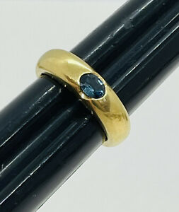 Antique 18k Yellow Gold Natural Blue Sapphire Gypsy Ring Size 6