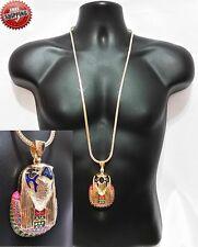 Horus Gold Bird Egyptian Necklace Hip Hop Vector Chain Crystal Franco Iced Out