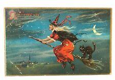 Halloween, Witch & Cat on broom, Raphael Tuck, 1908 postcard, FREE SHIP