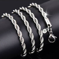 DIY Fashion  925 Silver Solid Twist Rope Chain Necklace Wedding Jewerly 16-30""
