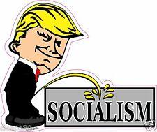 Donald Trump President Calvin Pee On SOCIALISM Funny Decal Sticker