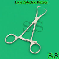 """Surgical Bone Reduction Forceps 5.5"""" Orthopedic Curved Long Ratchet Instruments"""