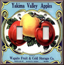 Metal Light Switch Plate Cover Vintage Country Fruit Crate Kitchen Decor Apples