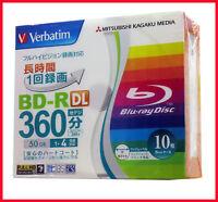 10 Verbatim 3d Blu ray Disc Dual Layer Printable Bluray 50GB BD-R DL 4x Spindle