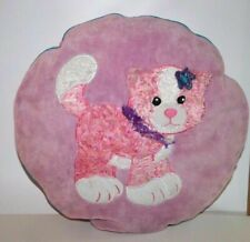 12 x 12 Round Pink Throw Pillow with Fluffy Kitten