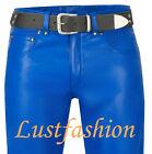Lederjeans neu Lederhose 501-st. blau leather trousers pants blue Pantalon Cuir