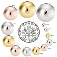 14k Gold over 925 Sterling Silver Round Ball Stud High Polished Earring+ GIFTBOX