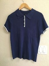 Basic Editions Blue Knit Top Size L NWT